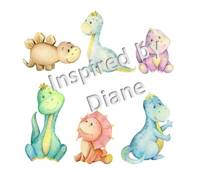 Transparent Sticker From Painted, Little Dinosaurs, Kids, Nursery, Decal 087 • 5.99£