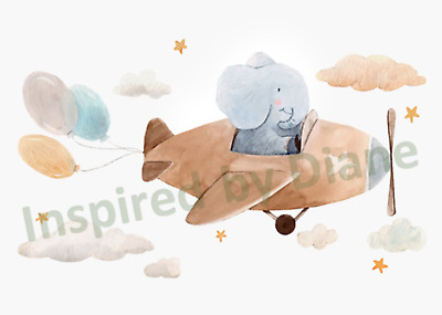 Transparent Wall Sticker From Painted, Elephant & Airplane, Nursery, Decal 037 • 5.99£