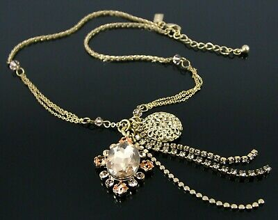 £7.99 • Buy Oasis Statement Necklace With Gold Tasseled Crystal Encrusted Pendant Charms
