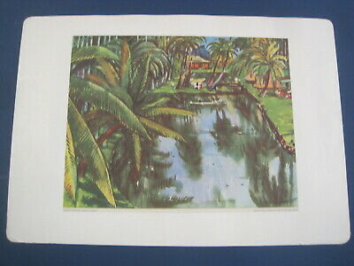 $9.99 • Buy Vintage Hawai'i Queen's Lagoon By Millard Sheets For United Airlines Tropical