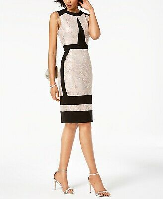 $ CDN50.63 • Buy Ivanka Trump Metallic-Lace Contrast Sheath Dress, Beige Size: 4