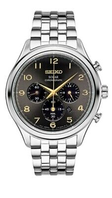 $ CDN125.31 • Buy New Seiko Men's Analog Solar Chronograph 100m Stainless Steel Watch SSC563