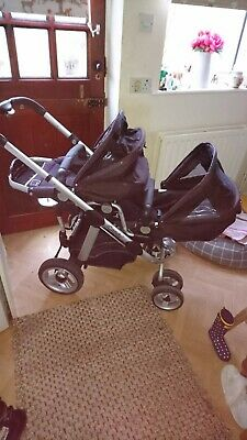 ICandy Apple 2 Pear Black Travel System Double Seat Stroller • 100£