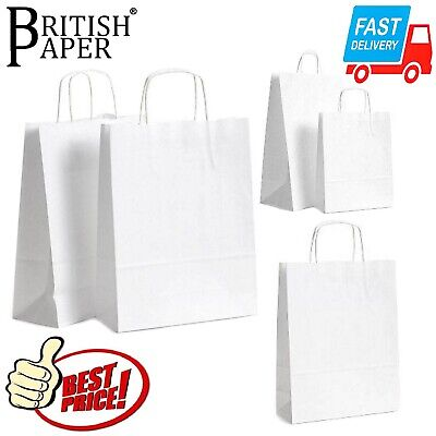 £1.79 • Buy White Paper Bags With Handles Small Large 100 50 25 For Party Gift Sweet Carrier