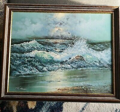 Oil Painting On Canvas Wavy Sea Signed • 49£