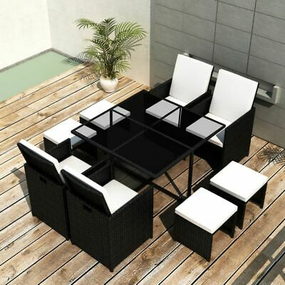 Black Outdoor Dining Patio Set With 9 Piece Poly Rattan Garden Furniture • 937.82£