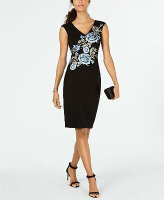 $ CDN37.97 • Buy Ivanka Trump Floral-Embroidered Sheath Dress, Black 2, 4, 10, 16