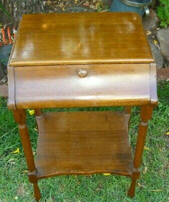 AU20 • Buy 1930's Oak Bed-side Table With Drop-leaf Front & Turned Legs In Very G Cond.