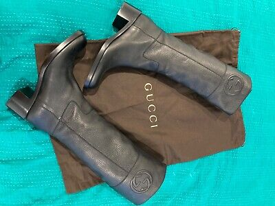 £325 • Buy Gucci Grainy Leather Knee High Boots Black UK Size 5 / Italy 38 Pull On Style