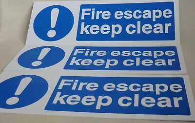 Fire Escape Keep Clear Rigid Health And Safety Signs X3 • 4.50£