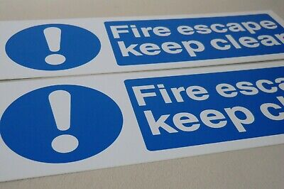 Fire Escape Keep Clear Rigid Health And Safety Signs X2 • 3.25£