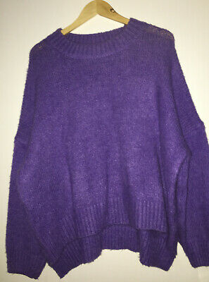 £19.99 • Buy MAY By Shining Star PURPLE Soft Knit Loose OVERSIZED Slouchy Baggy JUMPER One Sz