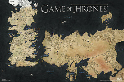£8.49 • Buy GAME OF THRONES MAP OF WESTEROS AND ESSOS 24x36 POSTER TV SERIES HBO DRAMA COOL!