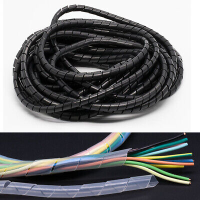 Spiral Wrap Black Natural Flexible Cable Tidy Tube Trunking Wire Loom Management • 10.99£
