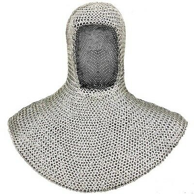 Medieval Mild Steel Chainmail Coif Dome Riveted Ancient Chain Mail • 67.70£