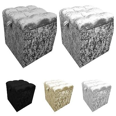 New Top Quality Cube Ottoman Storage Box,Bench Toy Box In Crushed Velvet S M L  • 49.99£