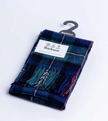 Green & Blue Cheque Barbour Scarf Lambswool & Cashmere Mix • 16£