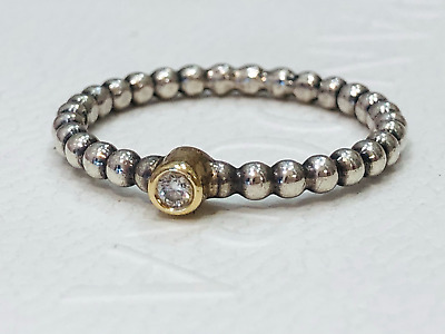 AU149 • Buy Authentic Pandora Evening Star Diamond Two Tone Silver Gold Ring 190214 Retired