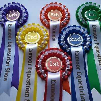 £9.65 • Buy 1st To 6th - 3 Tier Horse Or Dog Show Rosettes WITH TAIL PRINT OF YOUR CHOICE