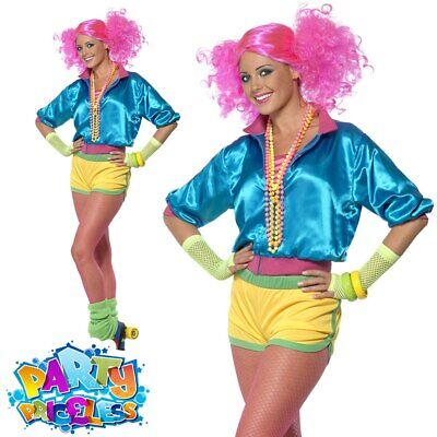 Ladies Neon Skater Girl Fancy Dress Costume 1980s Roller Disco Womens Outfit • 26.99£