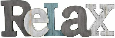 £14.38 • Buy Rustic Wooden Teal Block Word Sign Decorative Cutout Letters Freestanding Decor