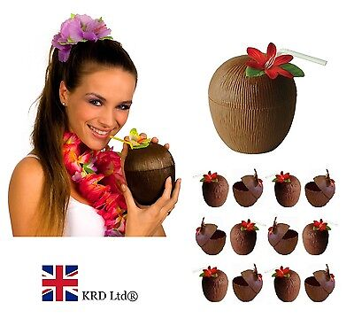 COCONUT CUP & FLOWER STRAW Hawaiian Hula Tropical Luau Hen Party Decor Beach UK • 9.80£