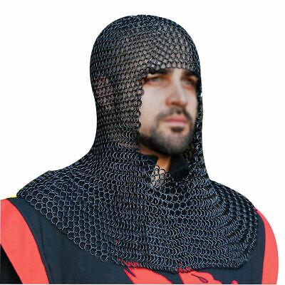Medieval Armor Black Butted Chainmail Coif Armour Chain Mail Hood Reenactment • 48.99£