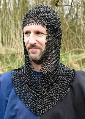 Ancient/Medieval Black Butted Ring V-Shape Chainmail Hood Chain Mail Coif LARP • 41.26£