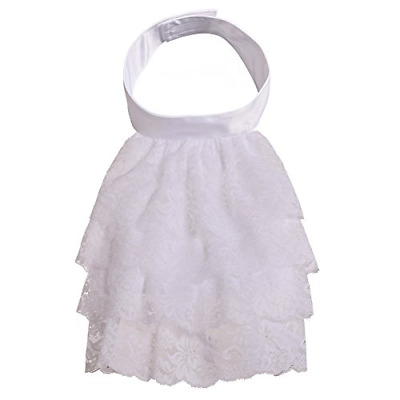 BLESSUME Colonial Jabot And Cuffs Unisex Lace Cravat Jabot Collar, Big White 6 • 19.26£