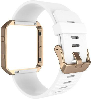 AU25.51 • Buy Smart Fitness Watch Band Compatible Fit Bit Blaze -White Band +Rose Gold Frame