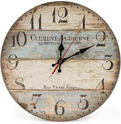 Silent Non Ticking Wall Clock 30cm Wooden Round 12  Vintage Rustic Shabby Chic S • 16.43£