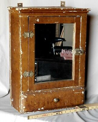 AU191.80 • Buy Antique Hanging Cupboard Cabinet Mirror Rustic Apothecary Grain Painted Ca. 1900