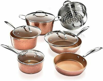 $268.98 • Buy 10pc Hammered Copper Cookware Set With Nonstick Coating Induction Pots & Pan Set