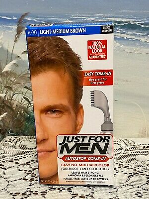 £8.74 • Buy JUST FOR MEN AutoStop Foolproof Haircolor, Light-Medium Brown A-30 Comb-In New