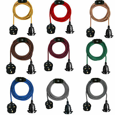 2M Fabric Flex Cable UK Plug In Pendant Lamp Light Set E27 Bulb Holder+ Switch • 12.02£