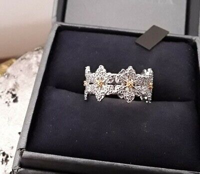 Ladies 925 Sterling Silver Simulated Diamond Floral Flower Band Ring Size M • 8.50£