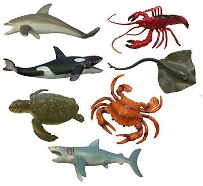 £5.99 • Buy New Plastic Model Sea Creature Toy Set Of 7 Animals Party Bag Stocking Fillers