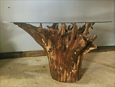 £650 • Buy Large Solid UK Bespoke Tree Stump/Root & Glass Console Table From Suffolk