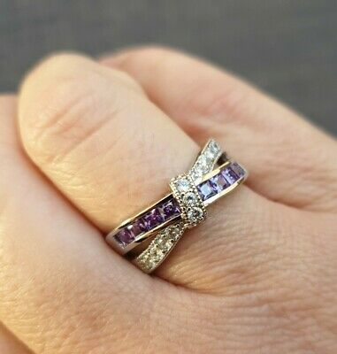 Ladies Silver Coloured Ring. Purple And Clear Stones. Size U • 7.50£