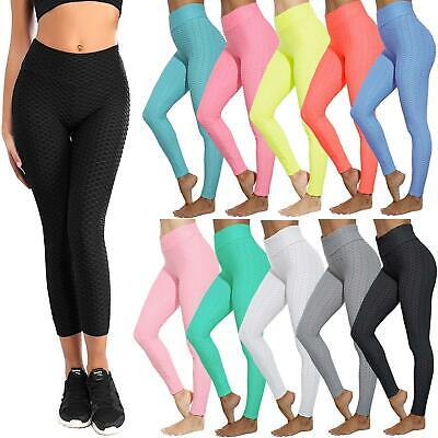 Ladies Honeycomb Anti-Cellulite Leggings Trouser Womens High Waist Yoga Pants • 11.99£