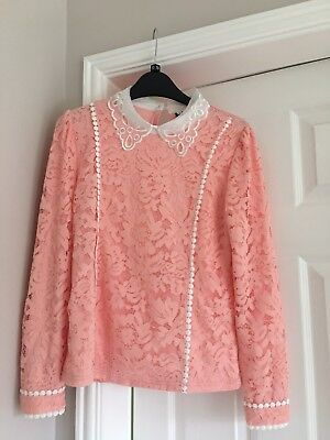 New Pink Lace Medium Pretty Top With Collar • 5£