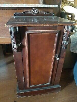AU50 • Buy Antique Wooden Bedside Table With Carving And Lock And Key