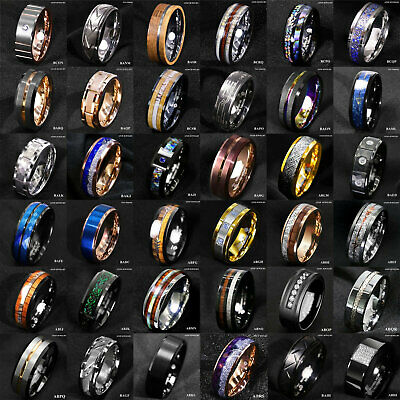 $18.79 • Buy Tungsten Ring & Gold Black Silver Blue Green CZ Mens Wedding Band ATOP Jewelry