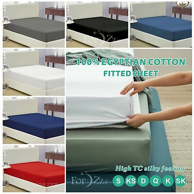 AU34.99 • Buy 1200TC Egyptian Cotton Single/KS/Double/Queen/King Deep Fitted Bottom Sheet
