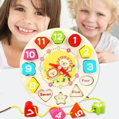 £4.79 • Buy Children Kids Wooden Clock Shape Puzzle Early Learning Number Educational Toy UK