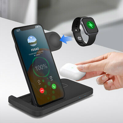 £19.85 • Buy UK 3in1 Qi Wireless Charger Dock Stand For IWatch 6/5/4/3/2 IPhone 12 Pro 11 XS