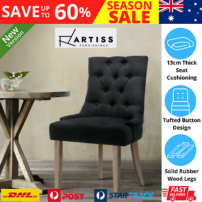 AU118.97 • Buy Artiss Dining Chairs Chair French Provincial Wooden Fabric Retro Cafe Black X1