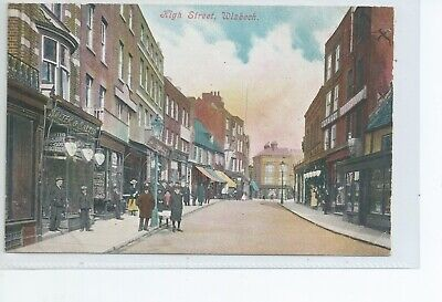 Printed Postcard Of The High Street Wisbech  Cambridgeshire Good Condition  • 5£