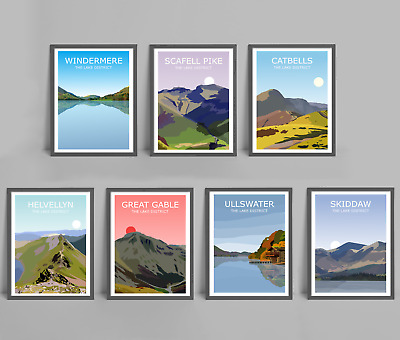 Lake District Set Of 7 Art Prints, Windermere, Scafell Pike, Catbells, Helvellyn • 199.99£
