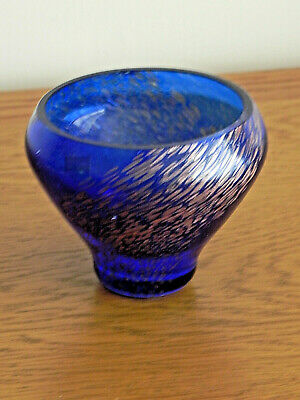 £14.99 • Buy Vintage Caithness Glass Trinket Bowl In Cobalt Blue With Copper Swirl Inclusions